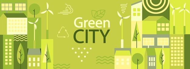 Baner poziomy zielonego miasta w prostym minimalistycznym geometrycznym stylu płaski. ekologia i zrównoważony plakat, ulotka z panelami słonecznymi, turbinami wiatrowymi, budynkami i drzewami - koncepcja ekologicznej i zielonej energii. wektor.