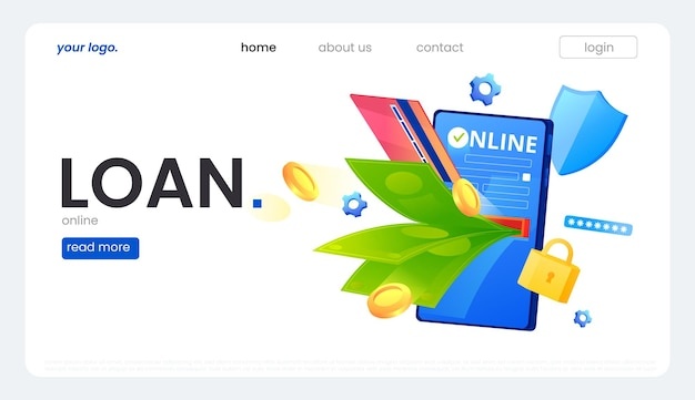 Baner pożyczki online. telefon z latającymi pieniędzmi, kartą kredytową i złotymi monetami. ikona bezpiecznej tarczy i hasła. ilustracja wektorowa gradientu.