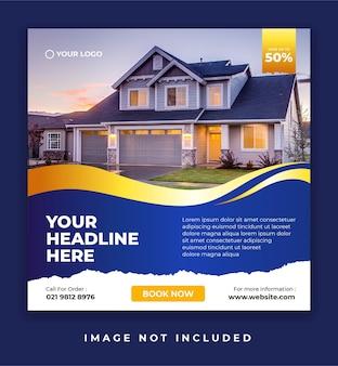 Baner promocji nieruchomości lub domu lub szablon postu w mediach społecznościowych