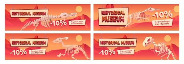 Baner promocyjny muzeum historycznego ze szkieletami dinozaurów. kupony rabatowe z dziesięcioprocentową zniżką na wizytę w dużych grupach. program edukacyjny, nauka paleontologii prehistorycznej, zestaw ulotek z kreskówek