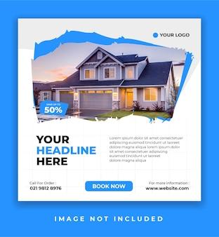 Baner promocyjny sprzedaży nieruchomości lub domu lub post w mediach społecznościowych