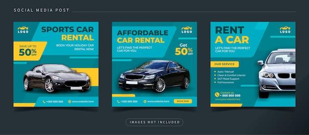 Baner promocyjny wynajmu samochodów dla szablonu postu na instagramie w mediach społecznościowych