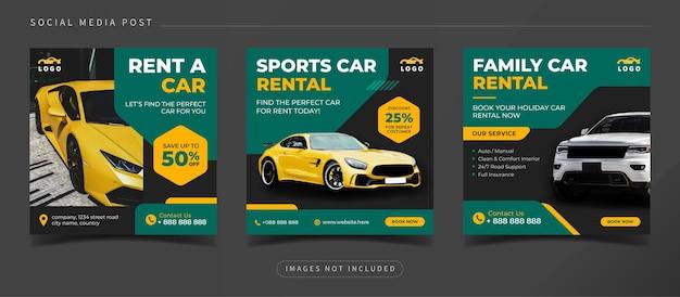Baner promocyjny wynajmu samochodów dla szablonu postu w mediach społecznościowych