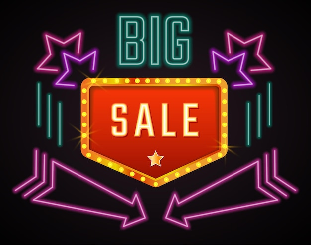 Baner promocyjny z dużym ogłoszeniem sprzedaży. neon z gwiazdami i strzałami. rabaty i specjalne oferty dla klientów, promocja w czarny piątek lub boże narodzenie. światło fluorescencyjne. wektor w stylu płaskiej