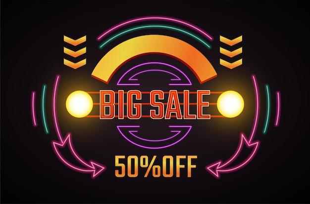 Baner promocyjny z neonowym znakiem i światłem fluorescencyjnym, na białym tle ikona z dużą wyprzedażą i 50% rabatem
