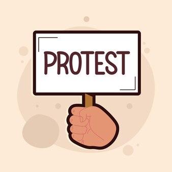 Baner protestacyjny w ręku
