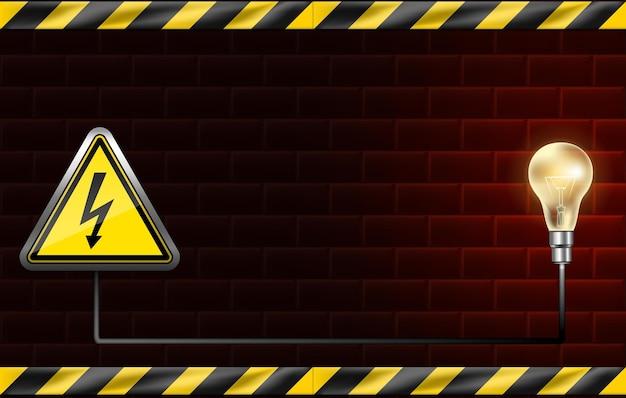 Baner przerwy w zasilaniu z czerwoną ceglaną ścianą i żarówką