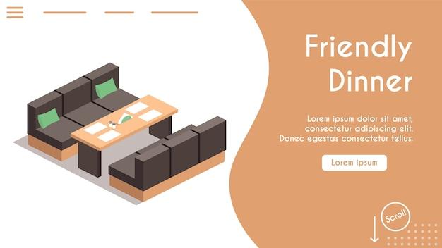 Baner przyjaznej kolacji w koncepcji kawiarni. widok izometryczny sofy i stołu, serwetki. nowoczesne wnętrza restauracji. spotkanie z przyjaciółmi, obsługa stołu. projekt szablonu banera, strona docelowa