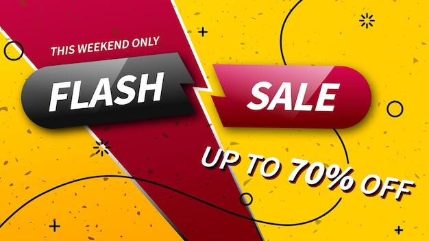 Baner rabatowy sprzedaży flash. tylko w ten weekend do 70% taniej. modny szablon promocji. gotowy baner do wykorzystania w projektach internetowych lub drukowanych.