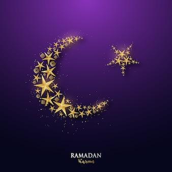 Baner ramadan kareem ze złotym półksiężycem i gwiazdami.