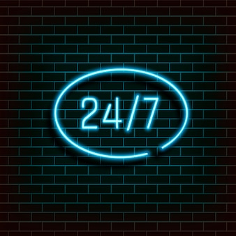 Baner ramowy w kształcie elipsy. otwórz 24 godzinne światło neonowe na ścianie z cegły