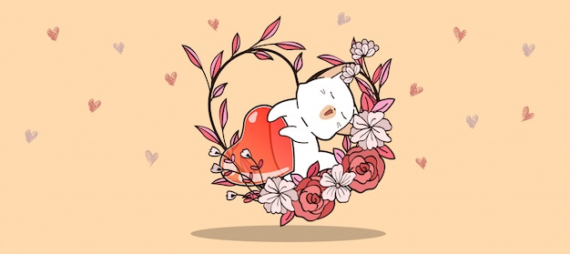 Baner ręcznie rysowane kawaii kot i galaretki serca wewnątrz winorośli serca