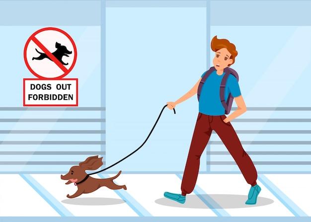 Baner reklamowy jest napisany zakaz wprowadzania psów.