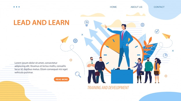 Baner reklamowy napis lead and learn.