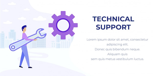 Baner reklamowy pomocy technicznej i wsparcia