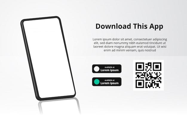Baner reklamowy strony docelowej do pobrania aplikacji na telefon komórkowy, smartfon 3d z odbiciem. pobierz przyciski z szablonem kodu skanowania qr.