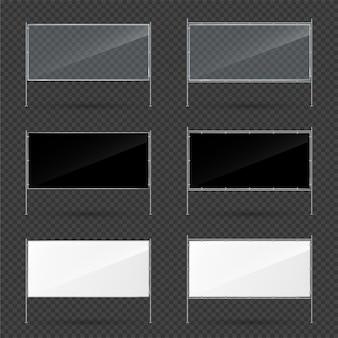 Baner reklamowy wektor zestaw do projektowania reklam marketingowych. prezentacja biznesowa. pusty szablon. prostokątny baner z metalową konstrukcją na przezroczystym tle_1