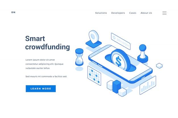 Baner reklamujący inteligentną aplikację crowdfundingową na urządzeniu