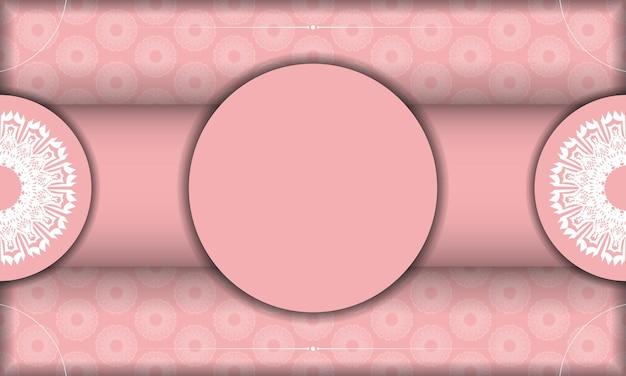 Baner różowy kolor z białym ornamentem mandali do projektowania pod logo lub tekstem