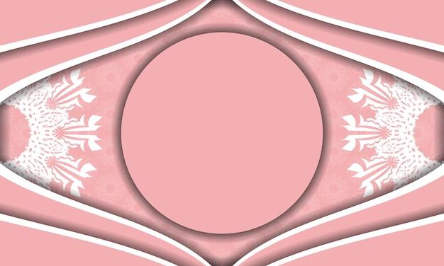 Baner różowy z białym ornamentem mandala do projektowania pod twoim logo