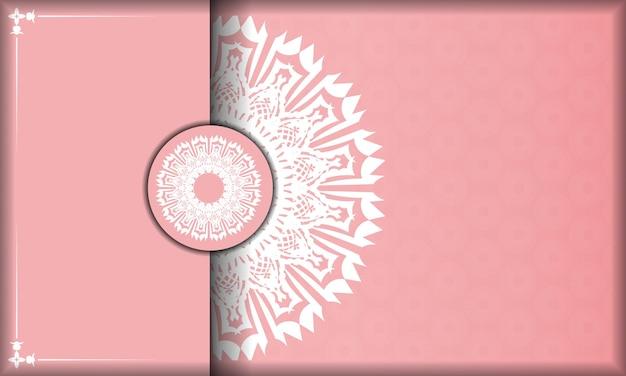 Baner różowy z indyjskim białym wzorem do projektowania logo lub tekstu