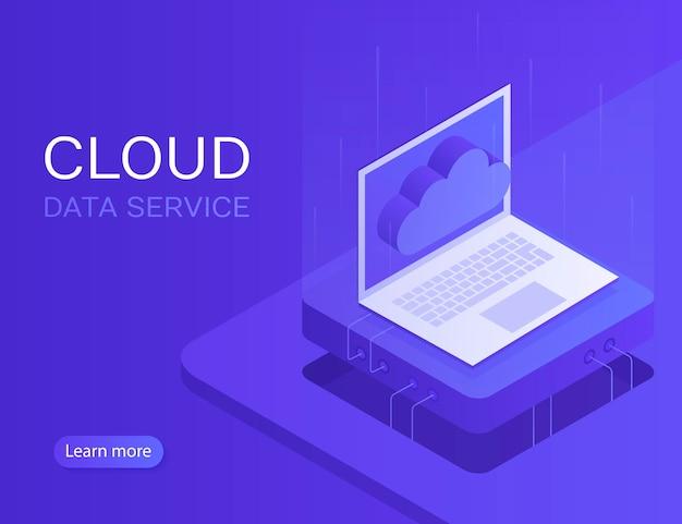 Baner serwera chmury, laptop z ikoną chmury. nowoczesna ilustracja w stylu izometrycznym