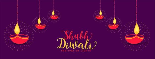 Baner shubh diwali z dekoracją diya
