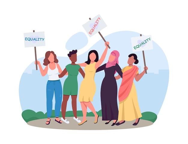 Baner sieciowy 2d dla kobiet, plakat. prawa kobiet. osiągnięcie równości rasowej. ruch postępowy płaskie postacie na tle kreskówki. rewolucja w stylu dziewczyny