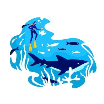 Baner sieciowy 2d do nurkowania, plakat. podwodny ekosystem. tropikalna ryba. wieloryb w oceanie. płetwonurkowie płaskie postacie na tle kreskówki. naszywka z rafą koralową do wydrukowania, kolorowy element sieciowy