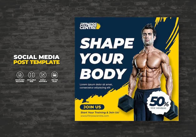 Baner social media fitness lub gym