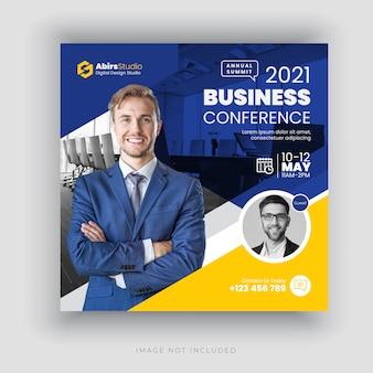 Baner społecznościowy konferencji biznesowych lub szablon ulotki kwadratowych