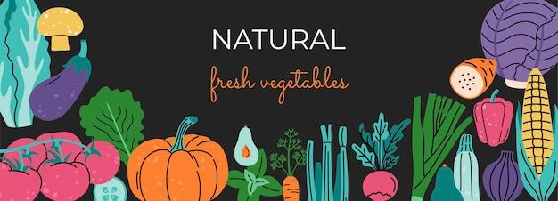Baner społecznościowy, świeże warzywa. ręcznie rysowane modny nowoczesny szablon. kolorowe ekologiczne rośliny, kapusta, kukurydza, bazylia, bakłażan i pomidor.
