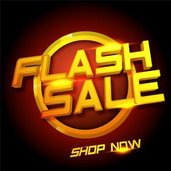 Baner sprzedaży flash z złotego tekstu na tle bordowy.