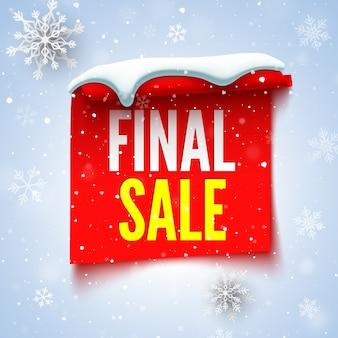 Baner sprzedaży końcowej z czerwoną wstążką, czapką śnieżną i płatkami śniegu.