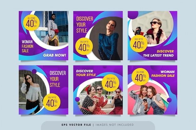 Baner sprzedaży mody do kolekcji postów w mediach społecznościowych