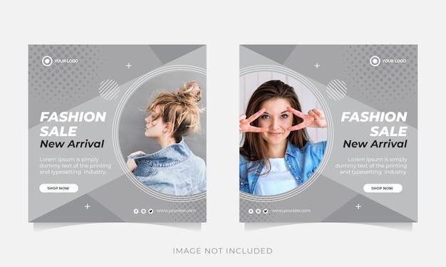 Baner sprzedaży mody lub kwadratowa ulotka dla szablonu postu w mediach społecznościowych