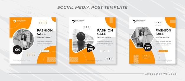 Baner sprzedaży mody lub kwadratowa ulotka dla zestawu szablonów postów w mediach społecznościowych