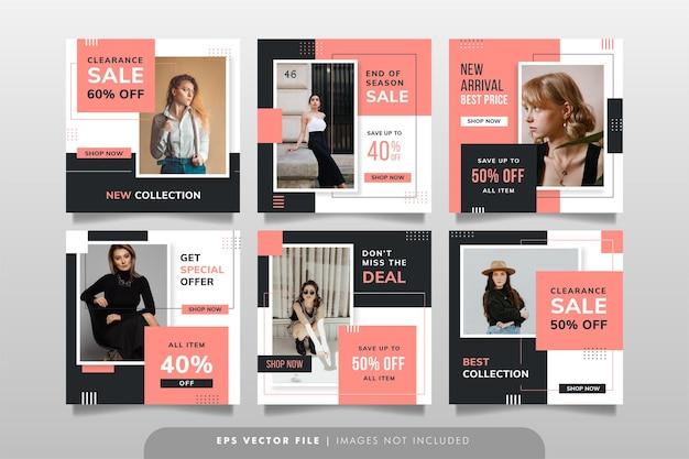 Baner sprzedaży mody lub post w mediach społecznościowych