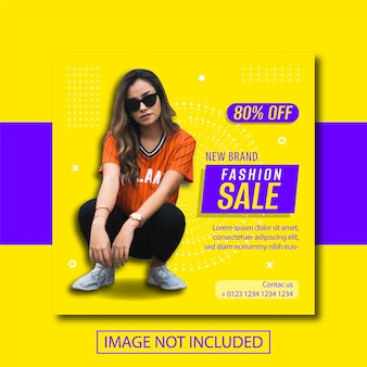 Baner sprzedaży mody na post w mediach społecznościowych