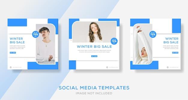 Baner sprzedaży mody zimowej na post w mediach społecznościowych.