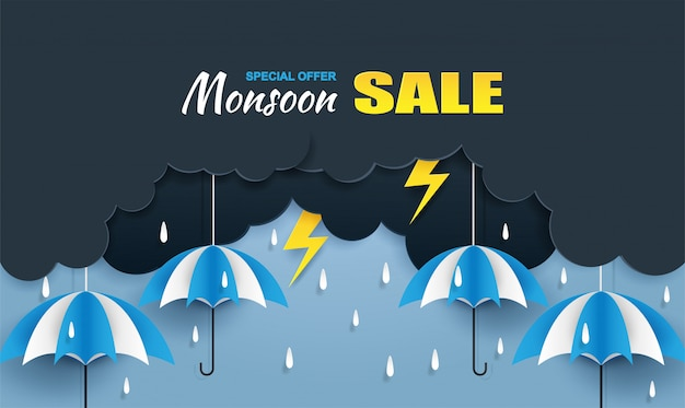 Baner sprzedaży monsoon, rainy season