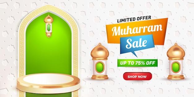 Baner sprzedaży muharram 3d realistyczny produkt na podium zielony islamski latern