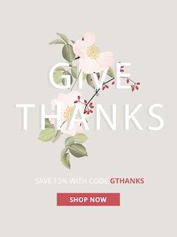 Baner sprzedaży na jesień, jesień i święto dziękczynienia dla rozmiarów reklam mobilnych.