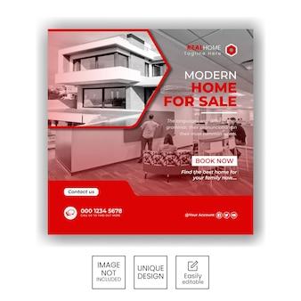 Baner sprzedaży nieruchomości lub post w mediach społecznościowych