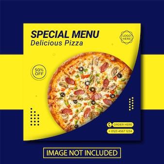 Baner sprzedaży pizzy ffod na post w mediach społecznościowych