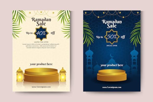 Baner sprzedaży ramadanu ze złotymi podiumami