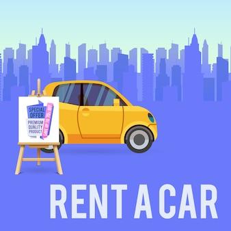 Baner sprzedaży samochodów lub plakat wynajem auto