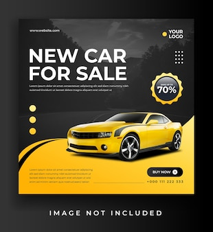 Baner sprzedaży samochodu lub szablon postu w mediach społecznościowych