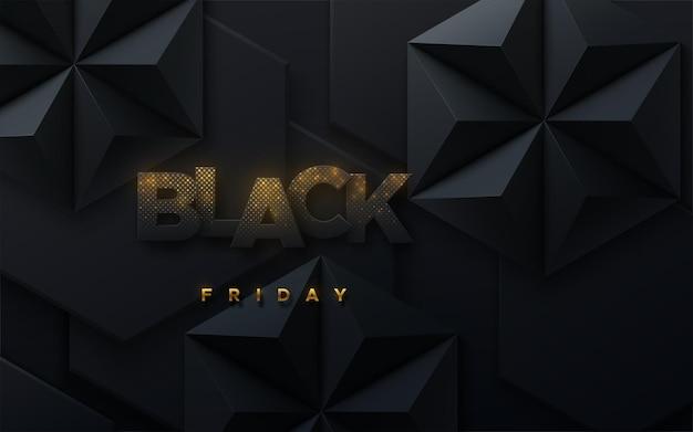 Baner sprzedaży w czarny piątek ze złotym błyszczącym wzorem drobinek z sześciokątnymi czarnymi kształtami