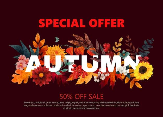 Baner sprzedaży z banerem sprzedaży elementów jesiennych